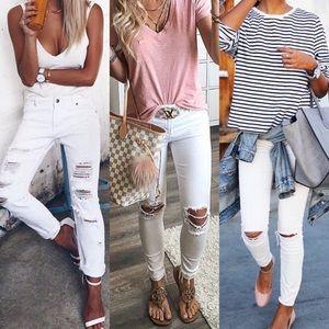 Denim - SKYLER✨ skinny distressed white denim jeans ripped